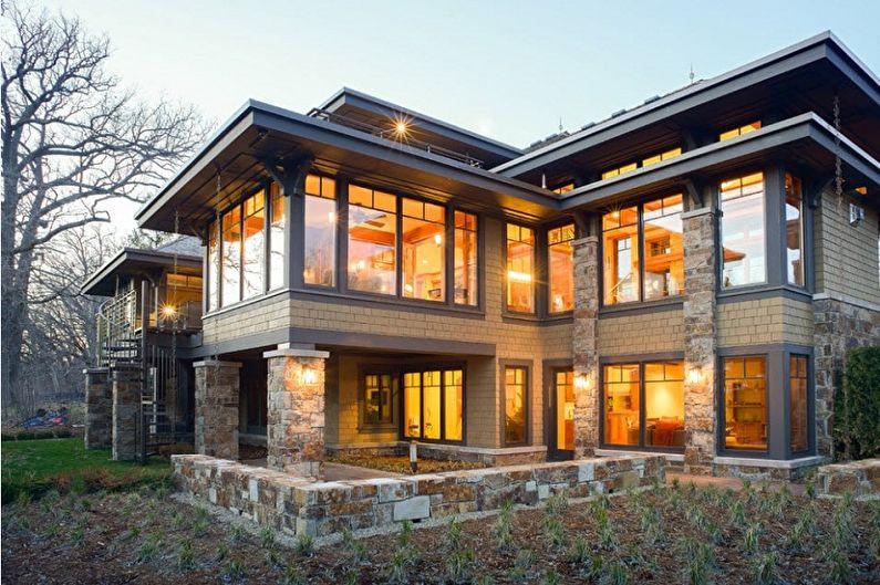 Небольшие двухэтажные дома [варианты фасадов и крыш на фото]
