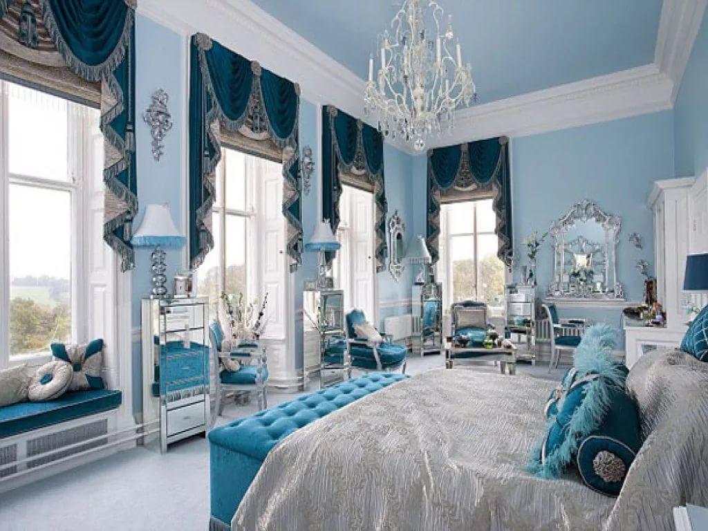 Небесно голубые шторы в интерьере жилых и нежилых помещениях - арт интерьер