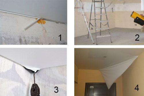 Как самостоятельно снять натяжной потолок?