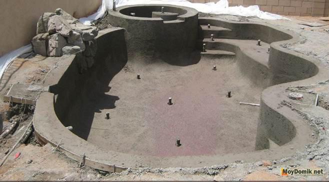 Как построить монолитный бассейн из бетона своими руками