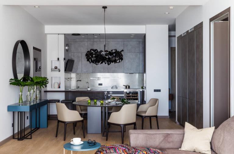 дизайн большой кухни гостиной