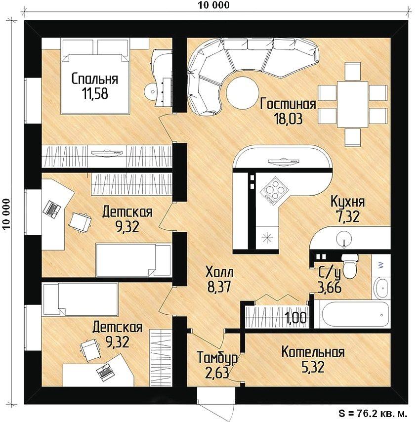 проекты одноэтажных домов бесплатно чертежи и фото