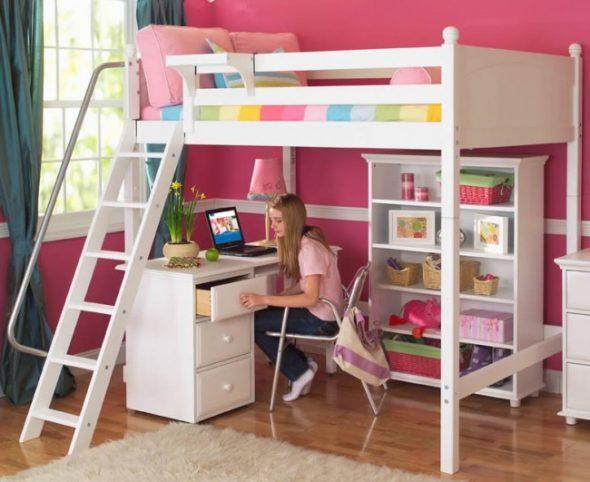 Двухъярусная кровать со столом: с рабочей зоной, шкафом, для детей