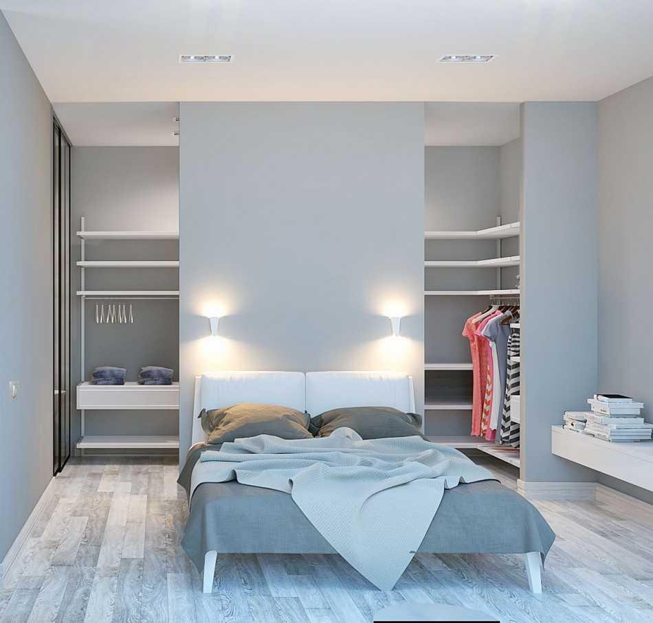 дизайн спальни со встроенным шкафом