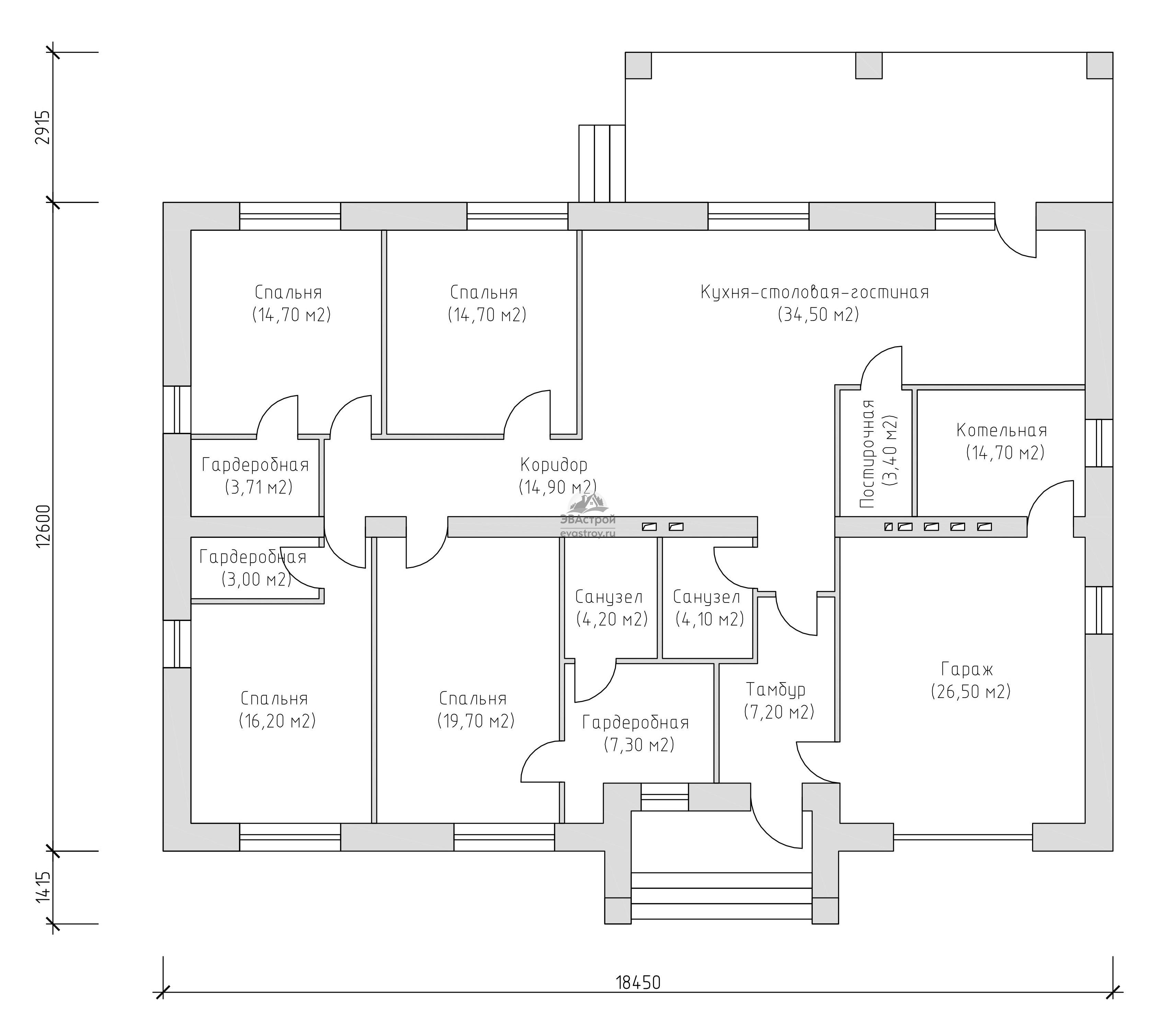 Проект просторного одноэтажного дома с 4 спальнями и гаражом. компания леон строит под ключ дачи, коттеджи в москве и московской области