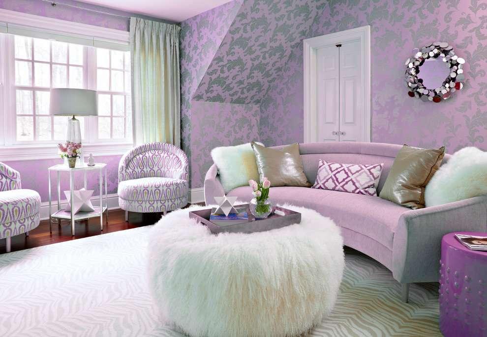 Фиолетовый цвет в интерьере и его сочетание с другими цветами + фото примеры