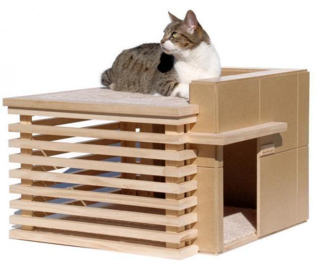 как сделать домик для котенка