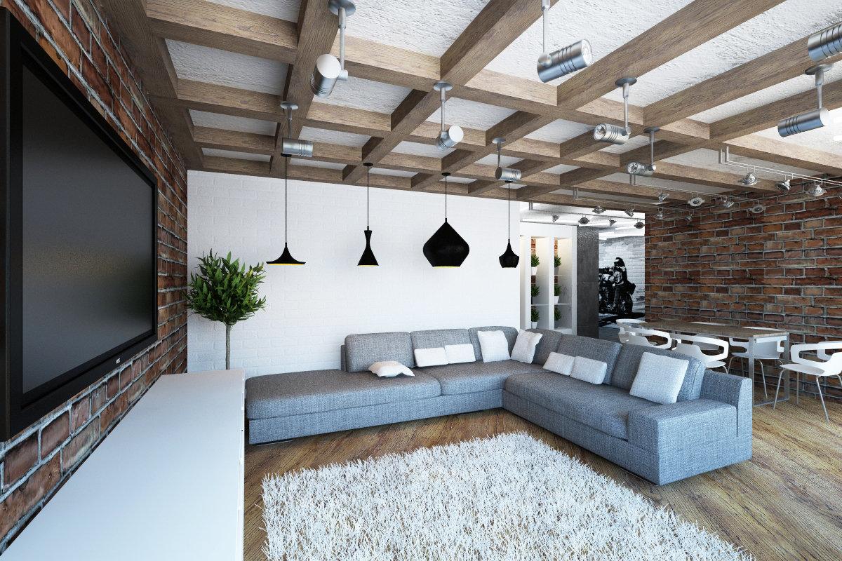 натяжной потолок лофт