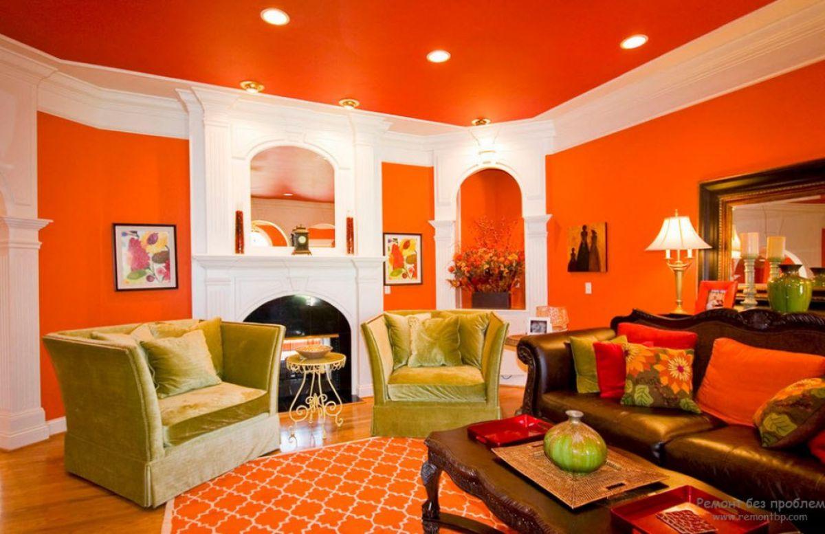 какой цвет сочетается с персиковым в интерьере