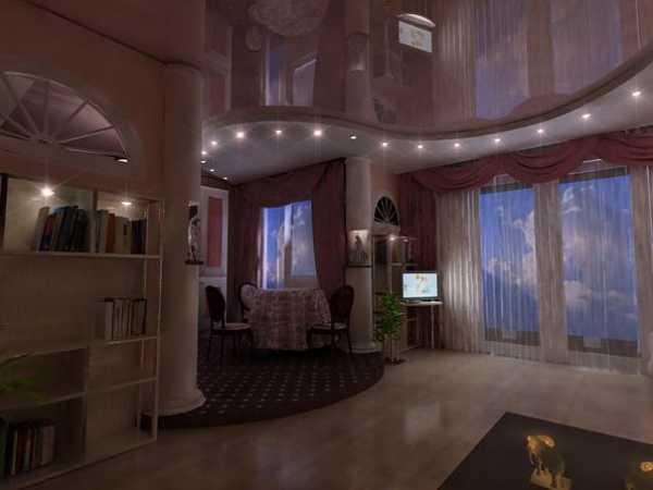 Двухуровневые натяжные потолки в гостиную (56 фото): варианты в стиле «классика» для зала, 2 уровня с подсветкой, современные дизайнерские решения двух уровненных моделей