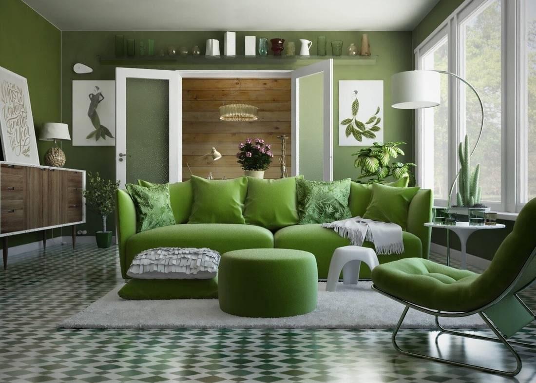 Оливковый цвет в интерьере гостиной, оливковые стены или фон, яркий декор, сочетание зеленого с другими оттенками в спальне