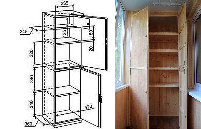 Шкаф на балкон и лоджию: виды, цвета, материалы, варианты расположения и наполнения