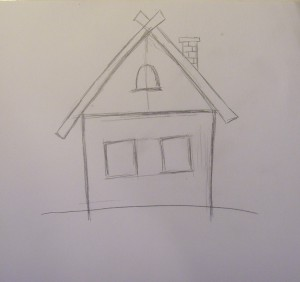 Рисунок дома для детей карандашом в деревне, перспективе, черно-белый, цветной с комнатами, садом