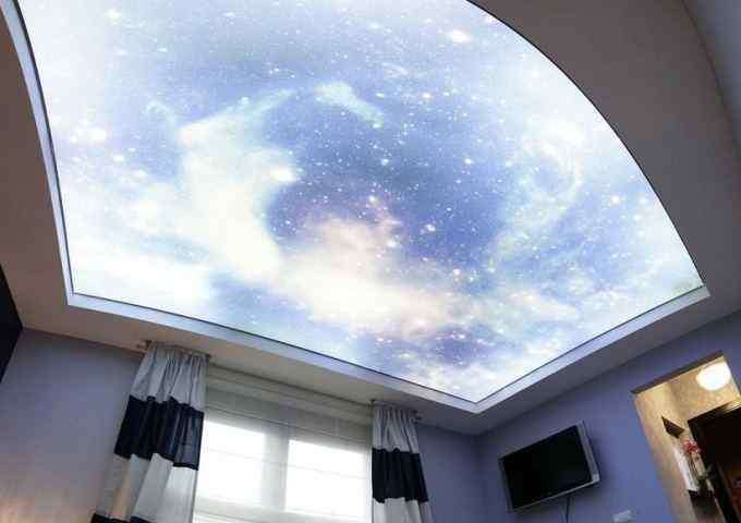 Натяжные потолки с фотопечатью: 50 фото примеров для зала, ванной, кухни