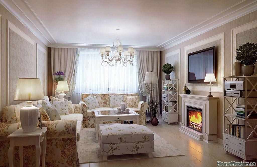 дизайн гостиной в коттедже