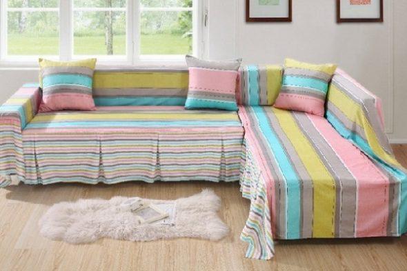 Как застелить угловой диван покрывалом: обычным и угловым