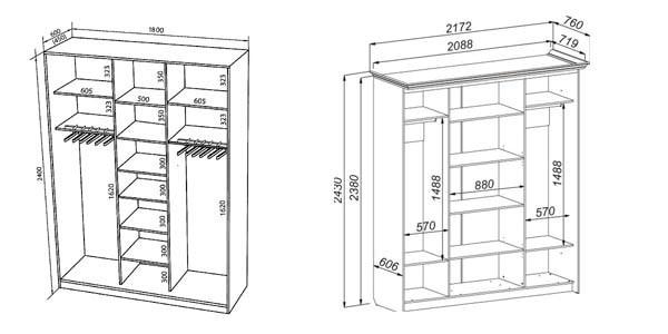 Размеры шкафа купе: ширина, глубина, высота и наполнение