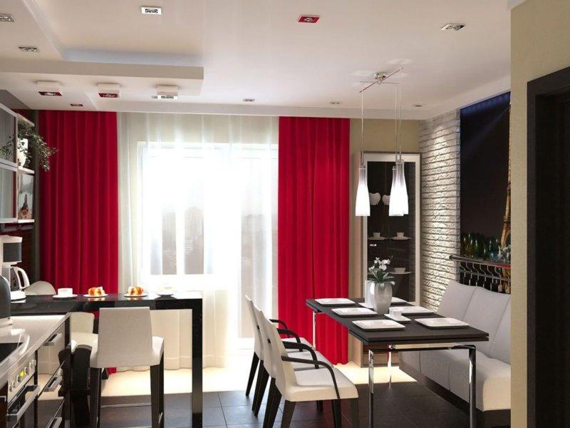 Красные шторы в интерьере - 80 фото примеров дизайна с советами