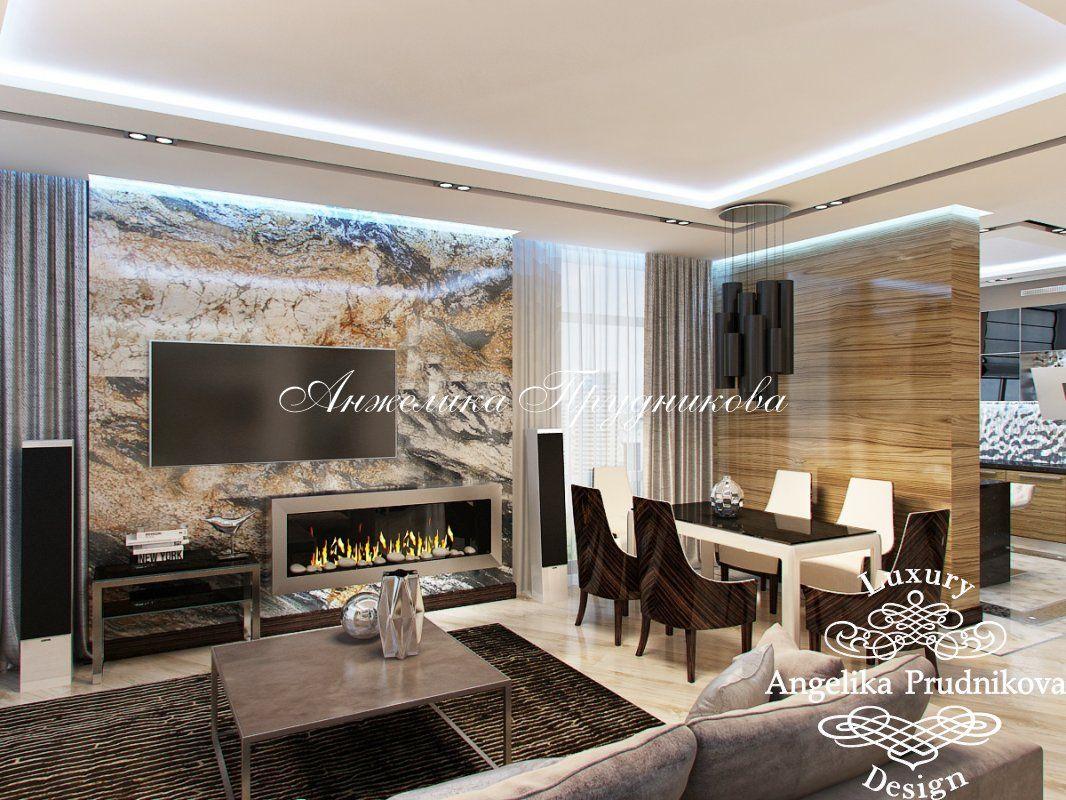 Интерьер гостиной в частном доме: отделка потолка и установка камина, выбор обоев, дизайн интерьера и фото