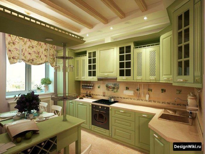 Дизайн интерьера кухни в сиреневом цвете, сочетание с черным