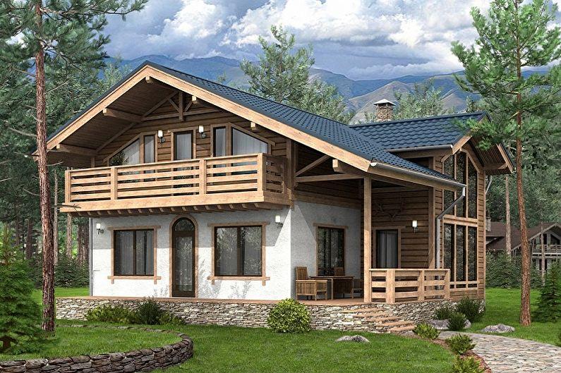 Одноэтажные дома шале (23 фото): проекты и размеры домов с террасой, из бруса и кирпича, деревянный и с пеноблоков, с гаражом и мансардой
