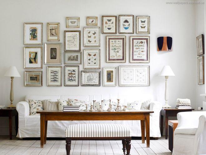 расположение картин на стене разного формата