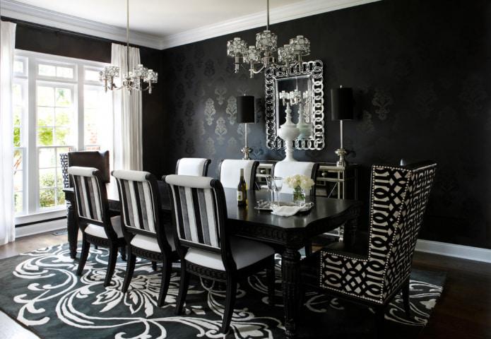 Белые обои с рисунком черным, золотым или серебристым для стен в интерьере, крупным или мелким геометрическим