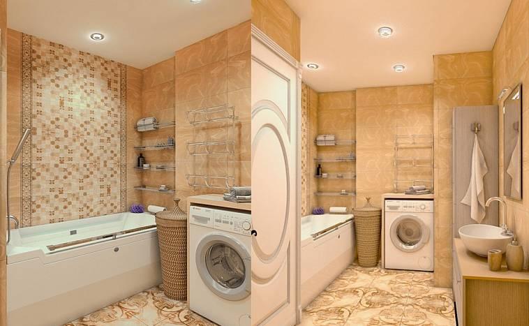 как разместить стиральную машину в маленькой ванной