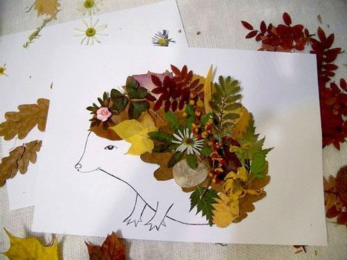 рисунок из осенних листьев