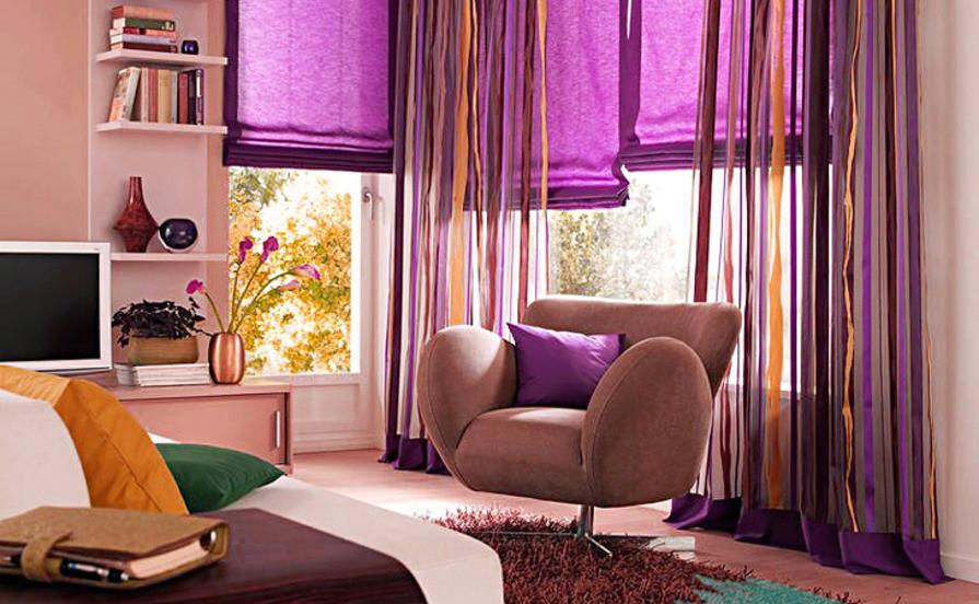 Фиолетовые шторы, тюль в интерьере спальни и не только (12 фото)