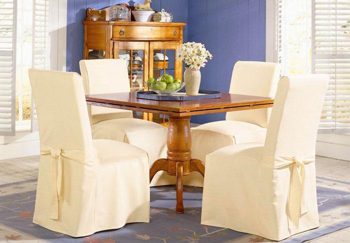 Чехлы на стулья со спинкой: как сшить своими руками, выкройка, фото