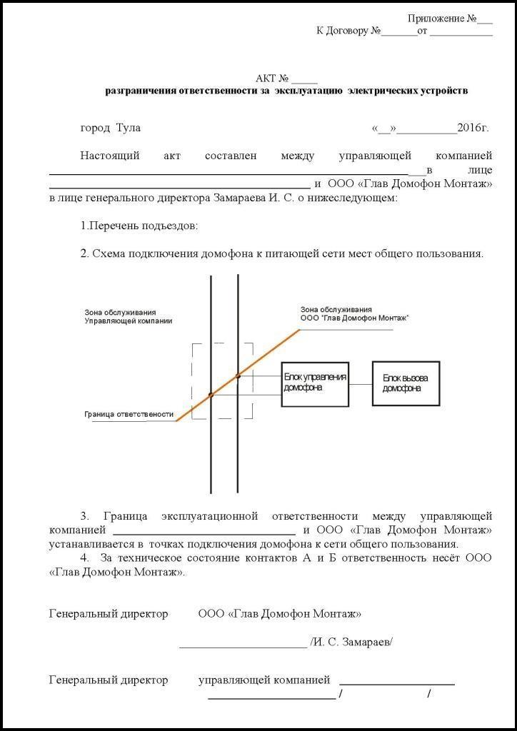 Акт разграничения балансовой принадлежности электросетей - образец 2020, бланк арбп, как получить, форма для электрических сетей