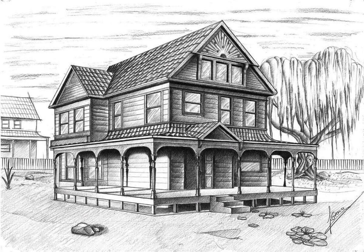 Как нарисовать дом: поэтапное создание красивого рисунка пошагово от а до я