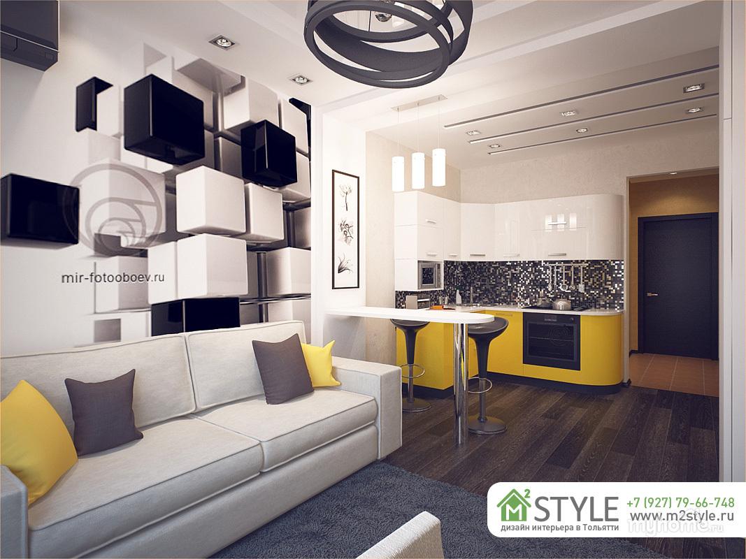 Дизайн квартиры-студии площадью 27 кв. м. с балконом