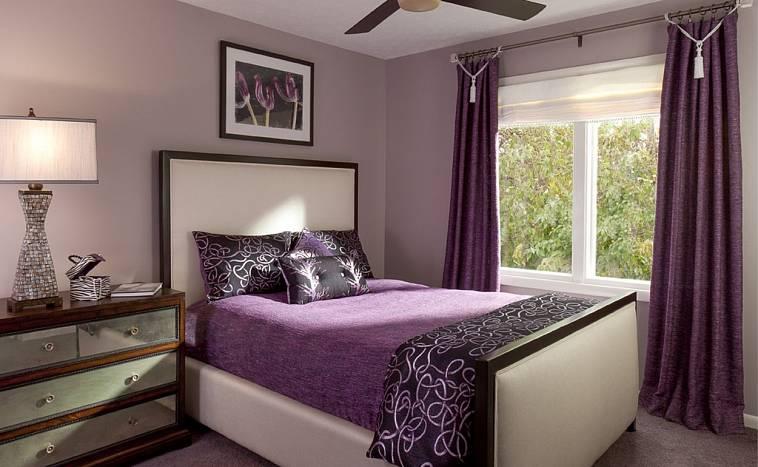 какой цвет сочетается с фиолетовым в интерьере