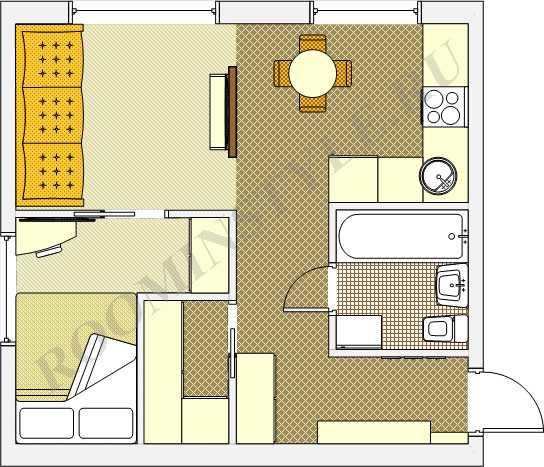 Планировка дизайна 1-комнатной «хрущевки» (57 фото): проект однокомнатной квартиры, интерьер комнаты с балконом в угловой «однушке»