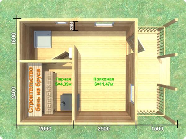 Проекты бань из бревна 6х6 – продумываем планировку заранее