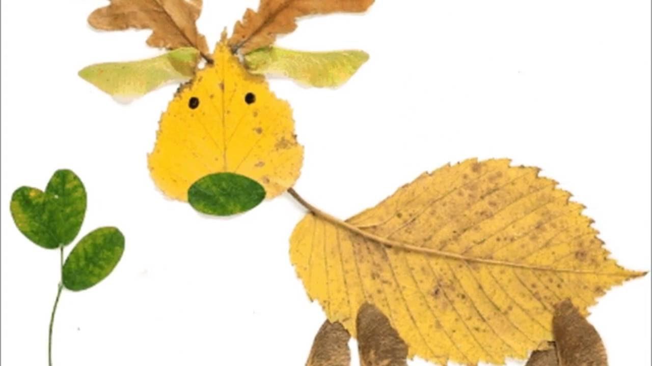 животные из листьев на бумаге