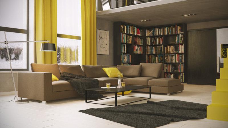 Желтый диван: акцент в современной гостиной (38 фото)   дизайн и интерьер