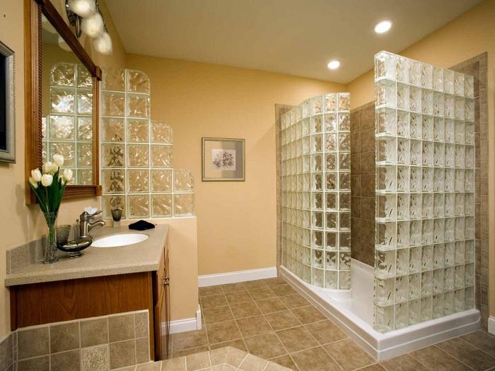 Стеклоблоки в интерьере, фото стеклоблоков в интерьере квартиры