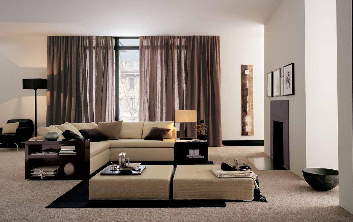 коричневые шторы в интерьере спальни фото
