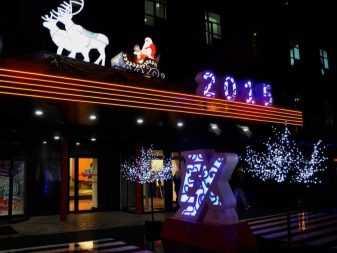 Новогоднее освещение фасадов: 100 фото красивых примеров