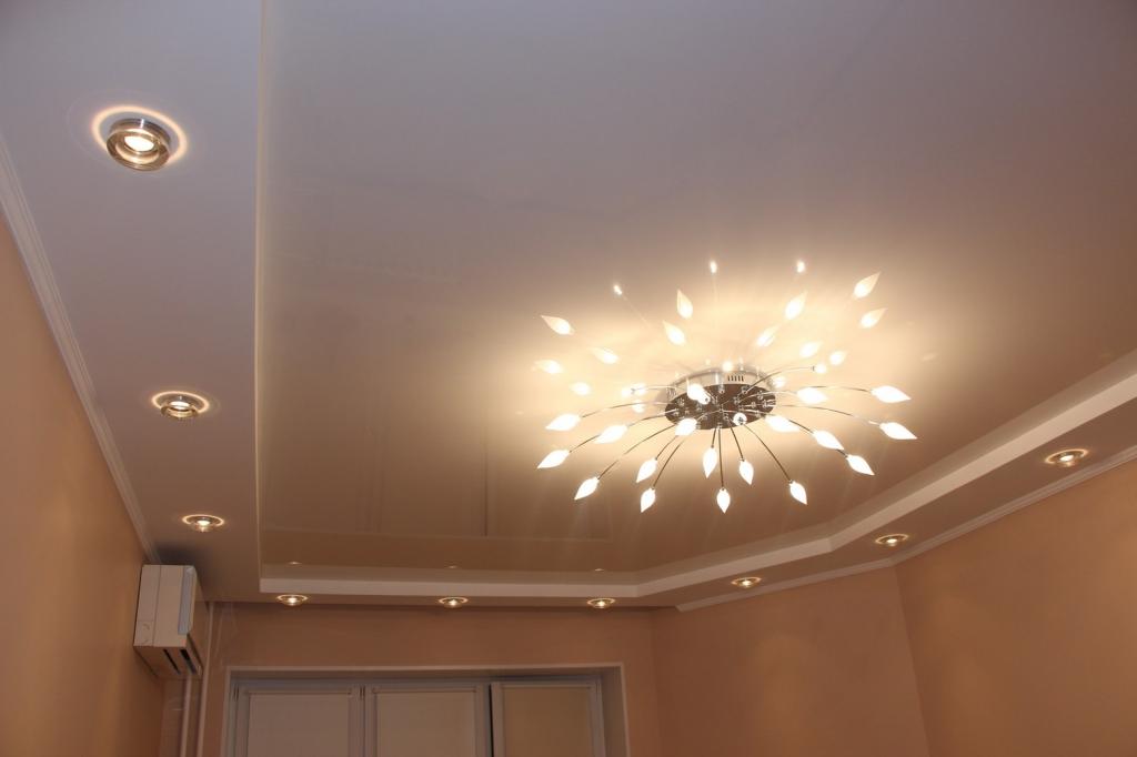потолочные светодиодные светильники встроенные в натяжной потолок