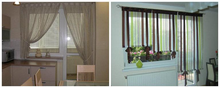 идеи штор на кухню с балконной дверью