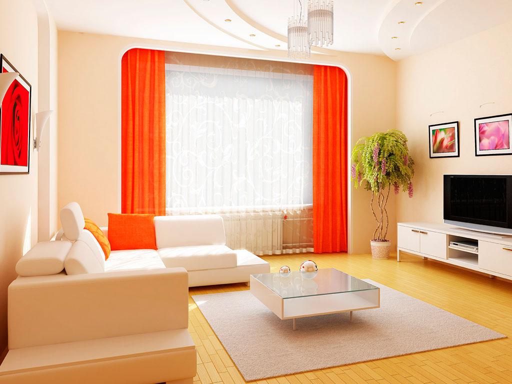 светлые шторы в интерьере гостиной