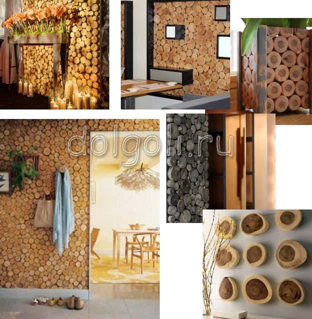 Декорирование стен с использованием спилов дерева