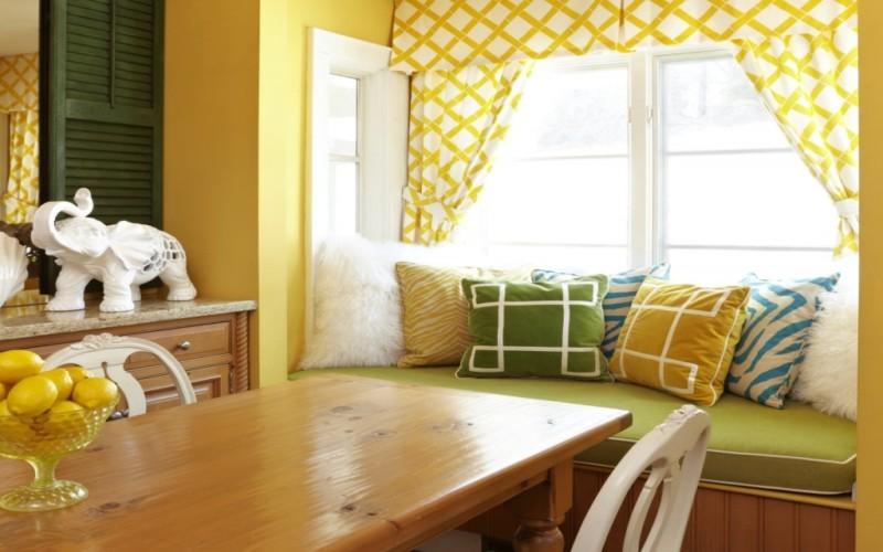 Оттенки желтых штор в интерьере