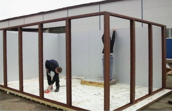 проект гаража из сэндвич панелей и металлокаркаса