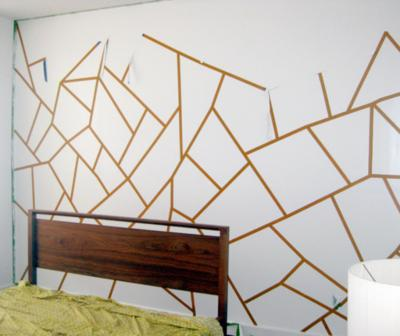 покраска стен треугольниками