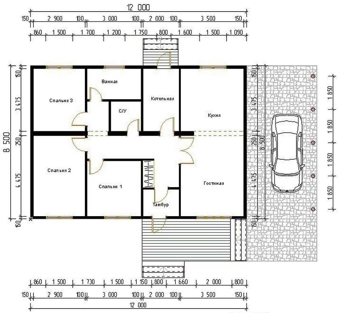 Проекты одноэтажных домов бесплатно: чертежи и фото   home-ideas.ru